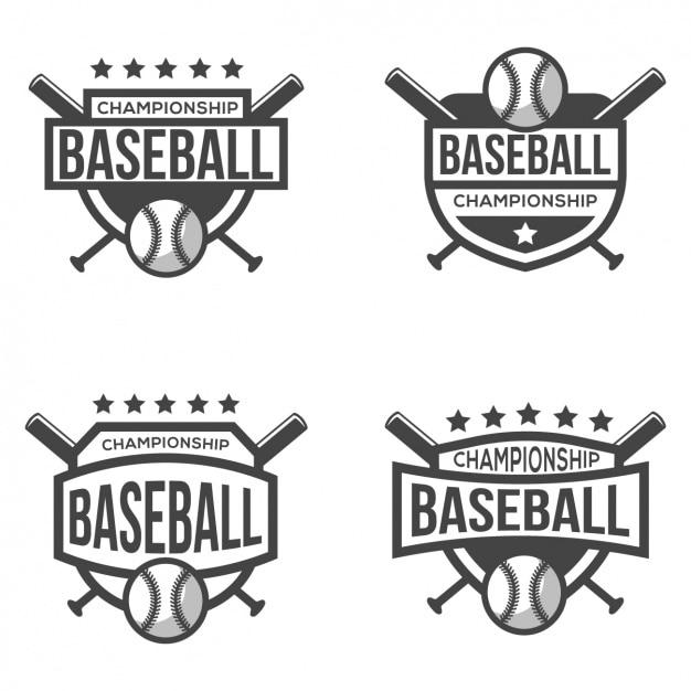 Cuatro logotipos para béisbol Gratis Vector