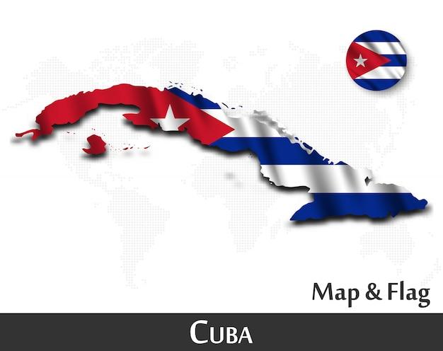 Cuba kaart en vlag. golvend textielontwerp. dot wereldkaart achtergrond. Premium Vector