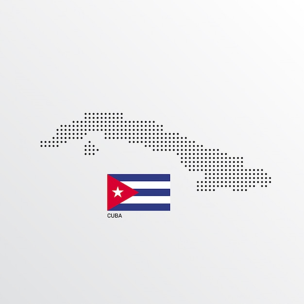 Cuba kaart ontwerp met vlag en lichte achtergrond vector Gratis Vector