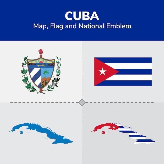 Cuba-kaart, vlag en nationale embleem Premium Vector