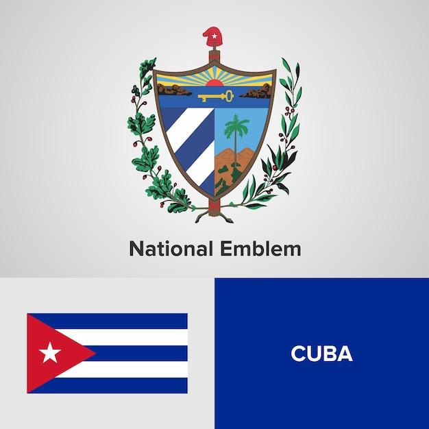 Cuba national emblem en vlag Premium Vector