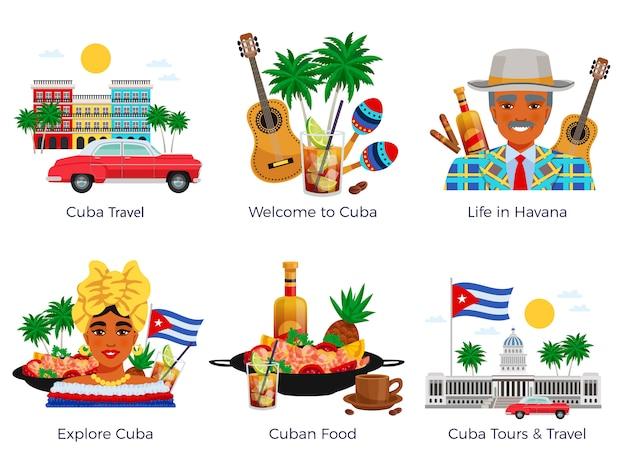 Cuba reizen icons set Gratis Vector