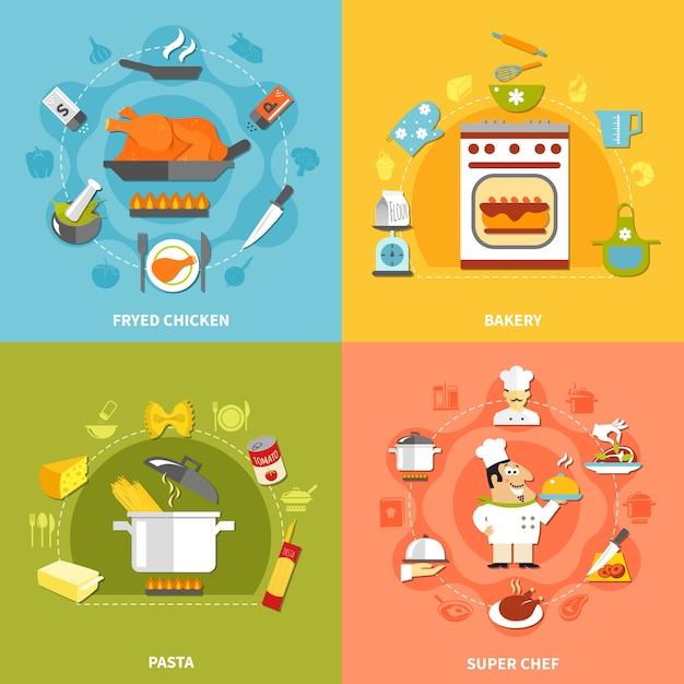 Culinair flat concept Gratis Vector