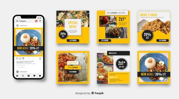 Culinaire instagram-post ingesteld met afbeelding Gratis Vector