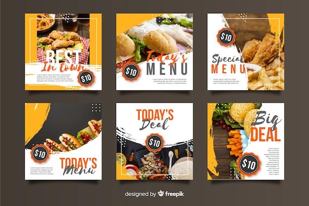 Culinaire instagram-post ingesteld met foto Gratis Vector