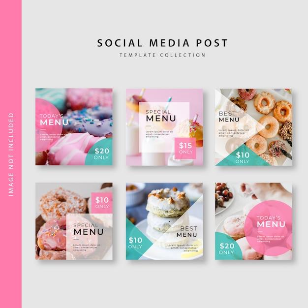 Culinaire instagram post sjabloonverzameling Premium Vector