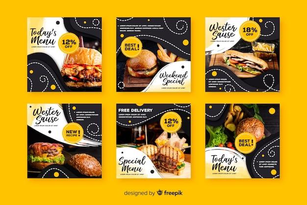 Culinaire instagram-postverzameling met foto Gratis Vector