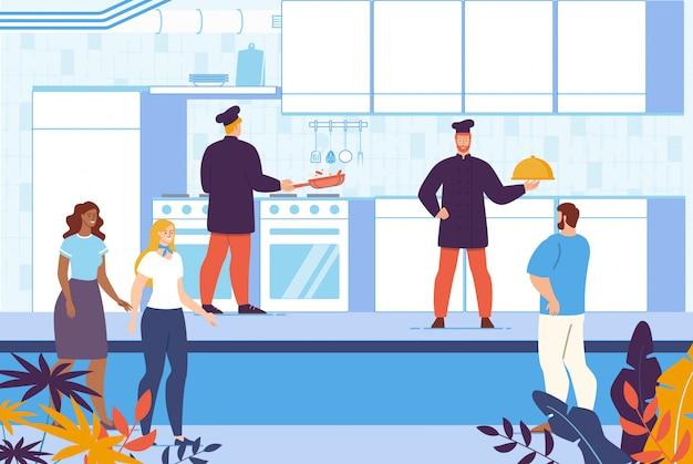 Culinaire kookcursus op restaurantkeuken Premium Vector