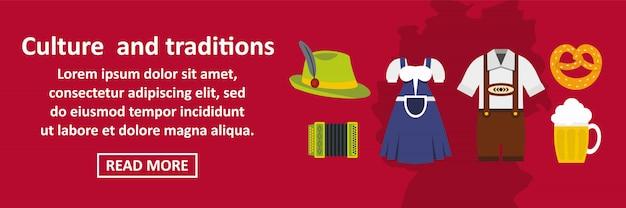 Cultuur en tradities duitsland banner horizontaal concept Premium Vector