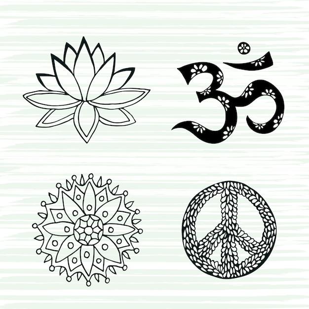Cultuur symbolen vector set. lotus, mandala, mantra om en vredestekens hand getrokken collectie. Premium Vector