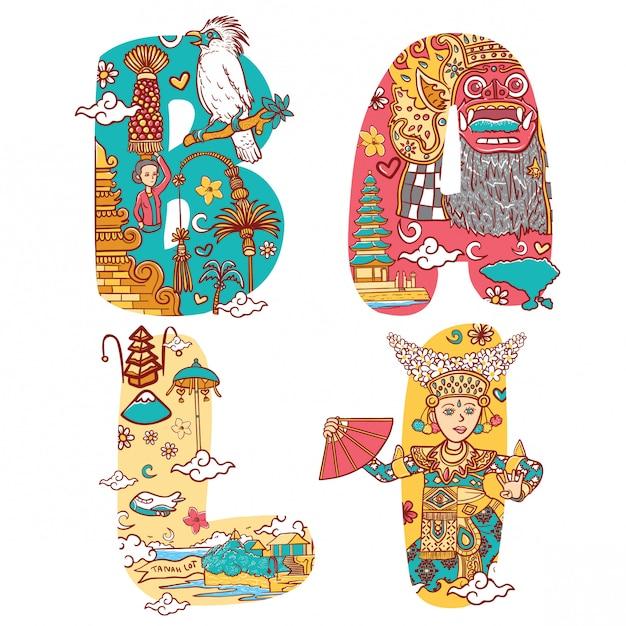 Cultuur van bali indonesië in aangepaste lettertype belettering illustratie Premium Vector