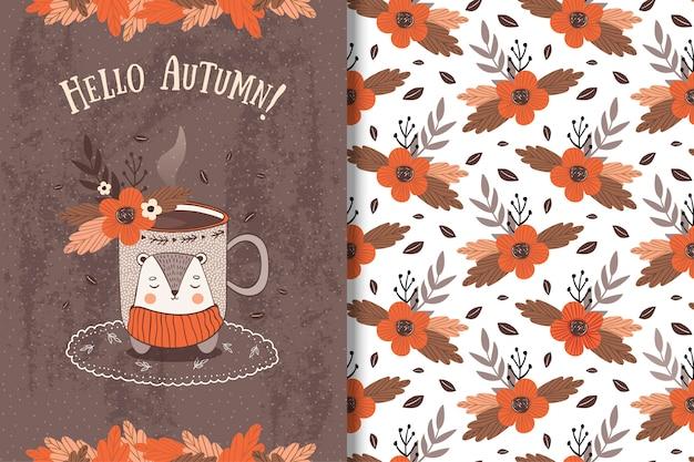 Cup met herfstbladeren card en naadloos patroon Premium Vector