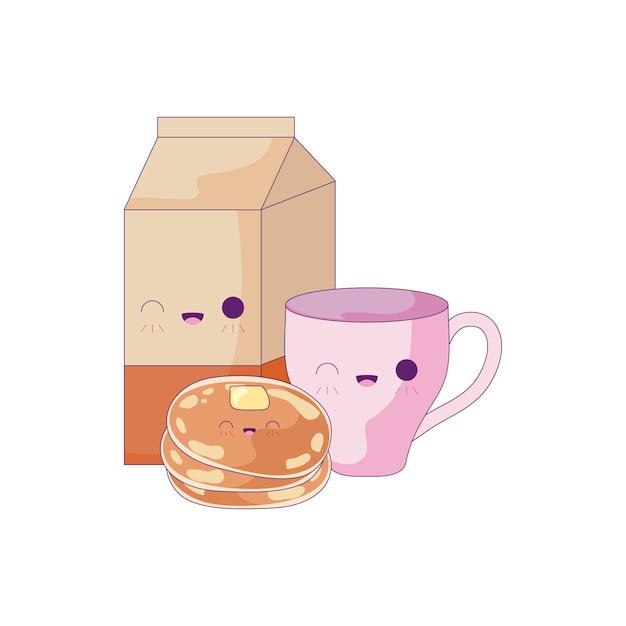 Cup met set voedsel kawaii stijl Premium Vector
