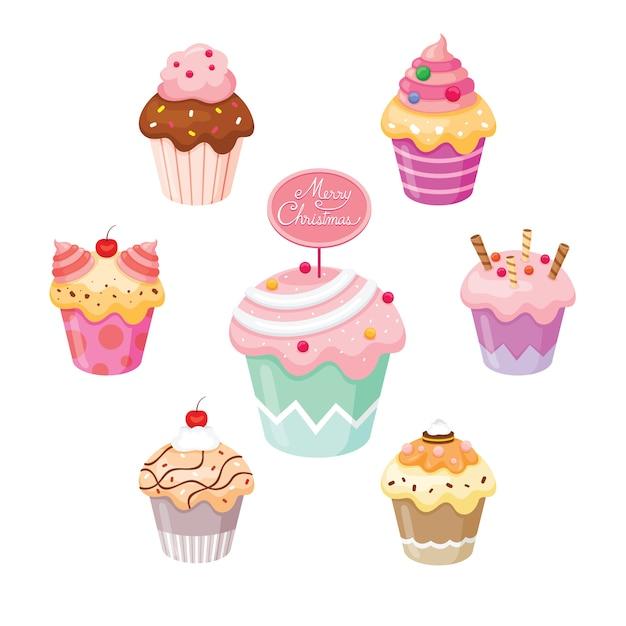 Cupcake die voor eerste kerstdag en vieringen wordt geplaatst Premium Vector