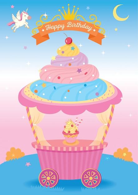 Cupcake-fantasie Premium Vector