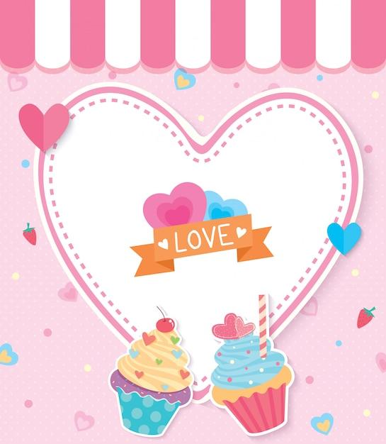 Cupcake liefde Premium Vector