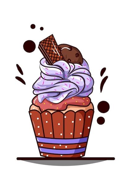 Cupcake met paarse room met wafel en koekchocolade Premium Vector