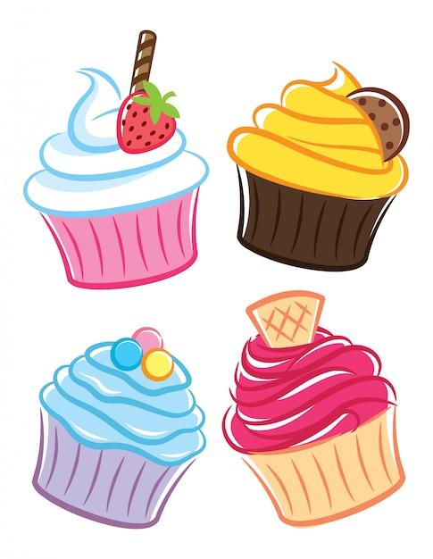 Cupcake pictogram in doodle stijl Premium Vector