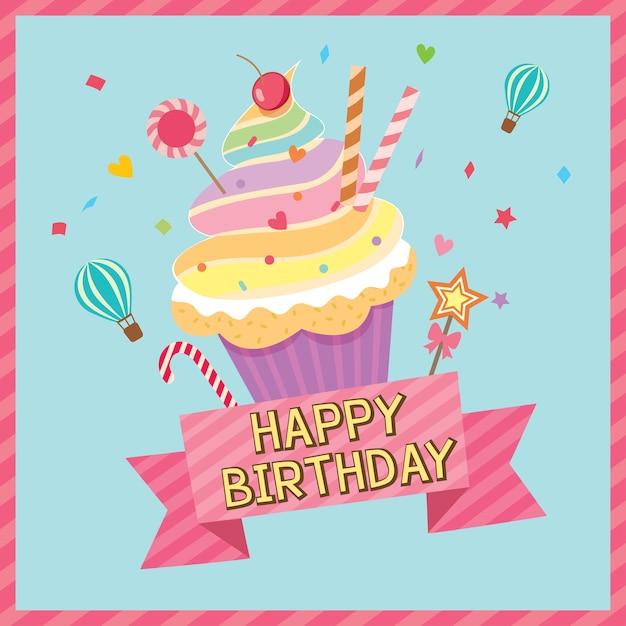 Cupcake regenboog verjaardagskaart Premium Vector
