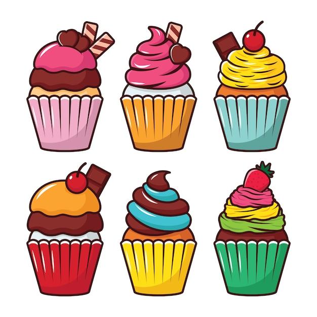 Cupcake vector set illustratie Premium Vector