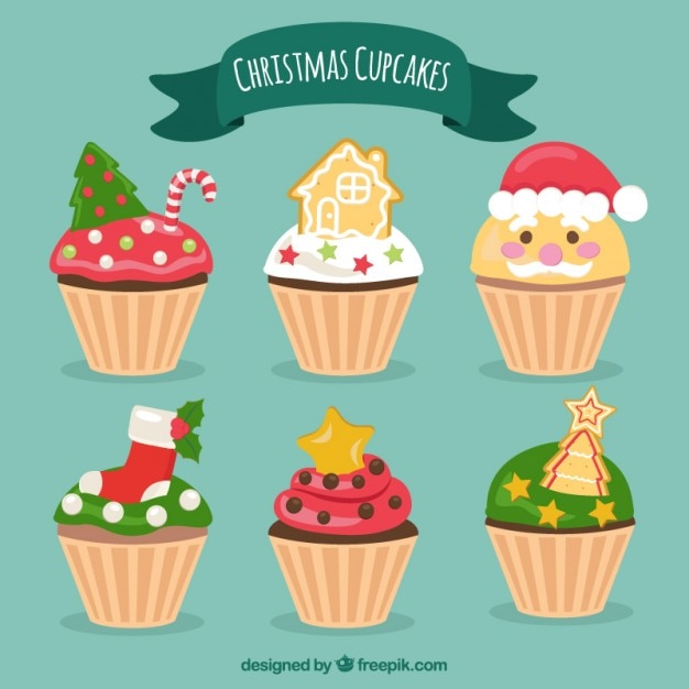 Cupcakes met kerst decoratie collectie vector gratis for Decoratie cupcakes