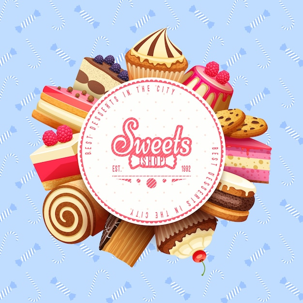 Cupcakes sweets shop round achtergrond frame Premium Vector