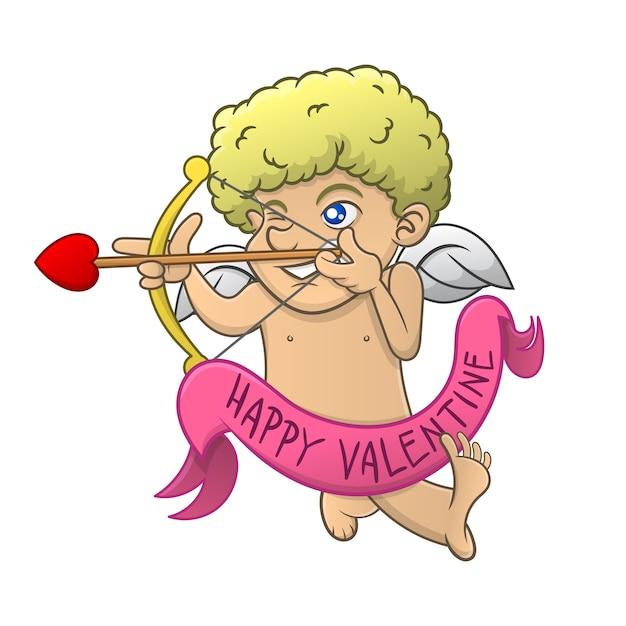 Cupido gericht op het doel met behulp van een boog van liefde cartoon Premium Vector