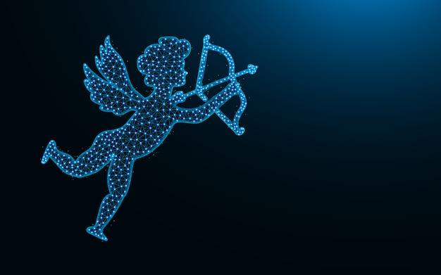 Cupido met pijl en boog laag poly-ontwerp, angel of love abstract geometrisch beeld, draadframe mesh veelhoekige vectorillustratie gemaakt van punten en lijnen Premium Vector