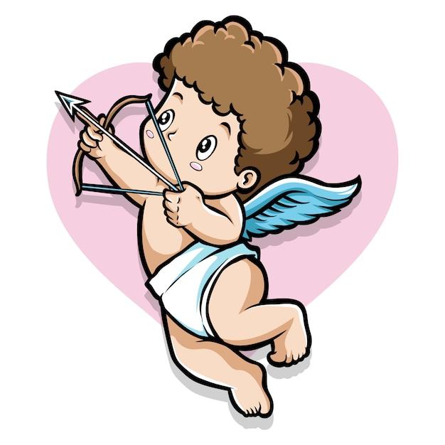 Cupidojongen met pijl Premium Vector