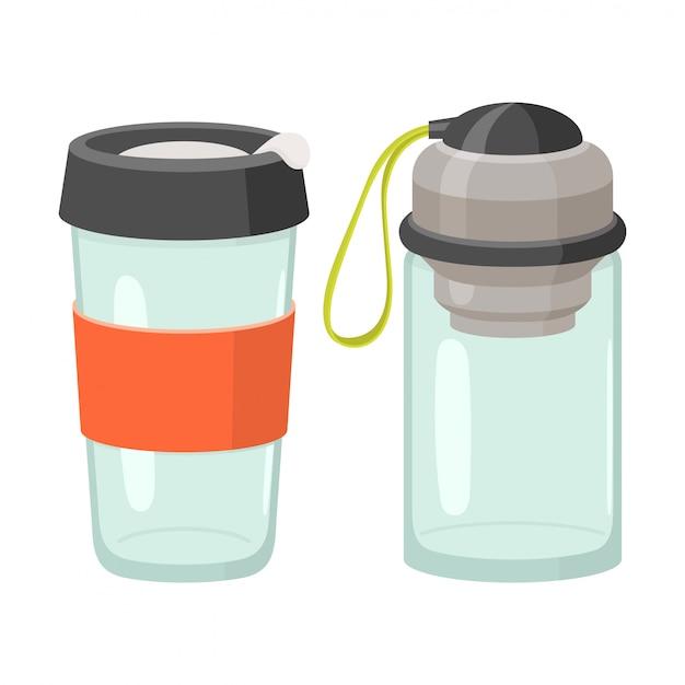 Cups en drinkglazen icon set Premium Vector
