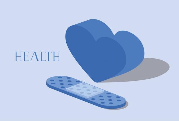Cure bandage met hart Premium Vector
