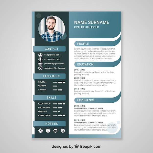 Curriculum-sjabloon met platte ontwerp Premium Vector