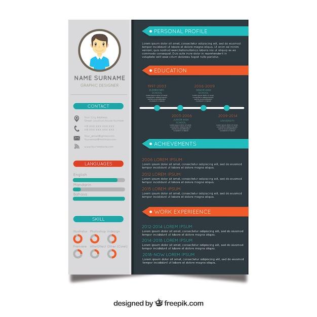 Curriculum-sjabloon met platte ontwerp Gratis Vector