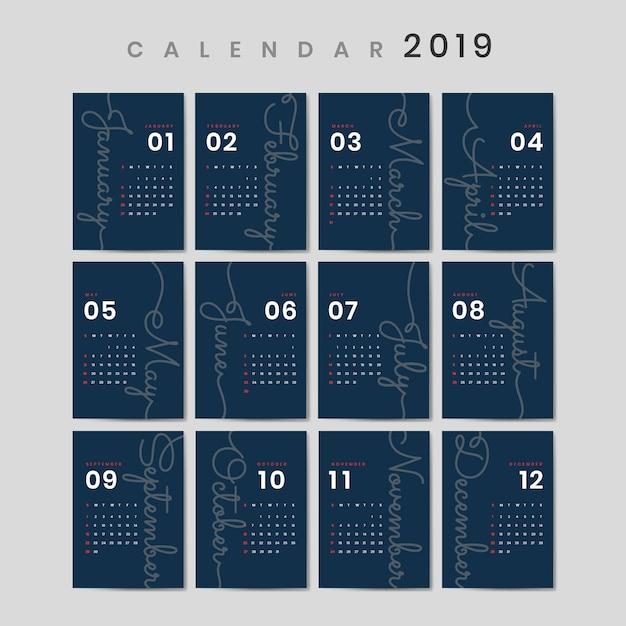 Cursief ontwerp kalendermodel Gratis Vector