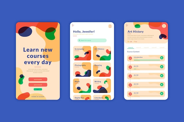 Cursus app-interface concept Gratis Vector