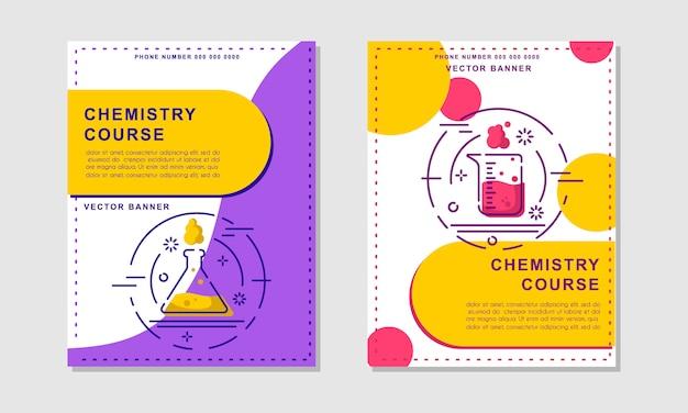Cursus chemie of lesbannersjablonen. flyer, boekje - wetenschap, onderwijs Premium Vector