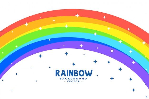 Curve regenboog boog met sterren achtergrond Gratis Vector