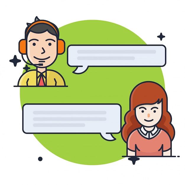 Customer consulting chat illustratie Premium Vector