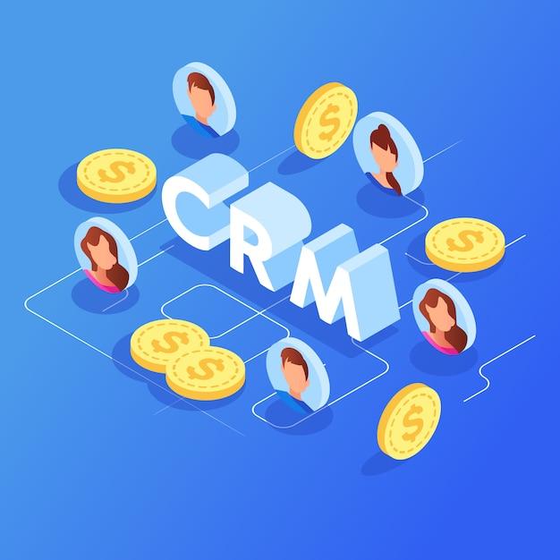 Customer relationship management isometrische vector. Premium Vector