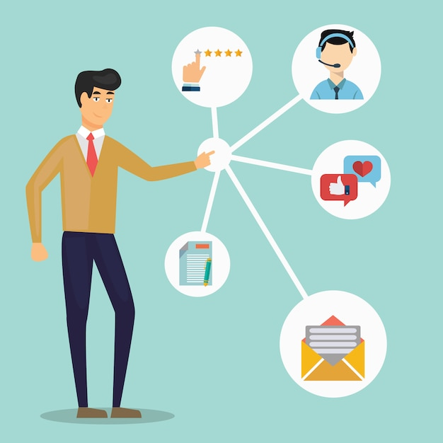 Customer relationship management. Premium Vector