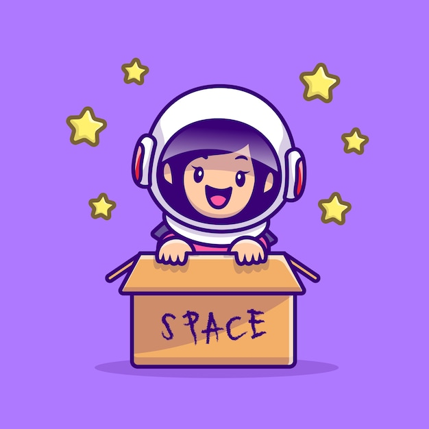 Cute astronaut girl in box cartoon afbeelding. mensen technologie pictogram concept Gratis Vector