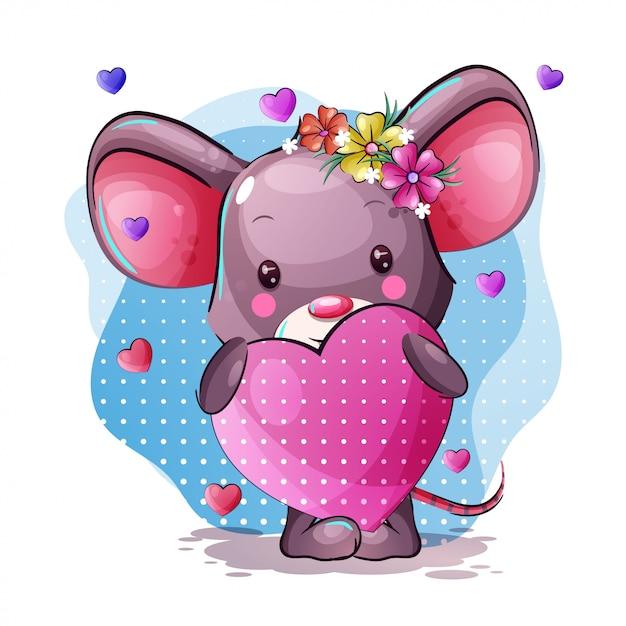 Cute cartoon baby muis met hart Premium Vector
