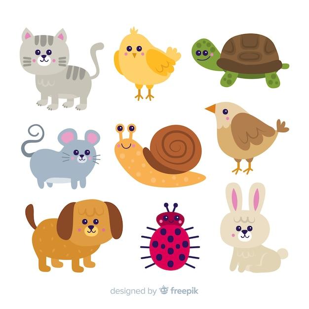 Cute cartoon dieren collectie concept Gratis Vector