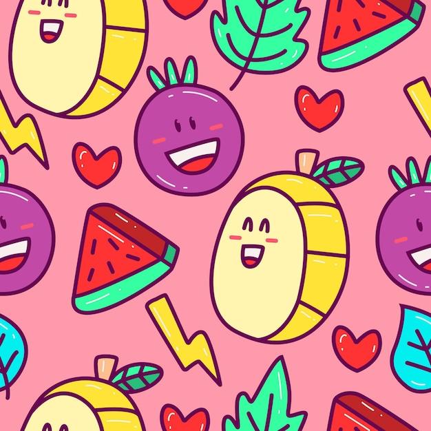 Cute cartoon doodle patroon in de hand getekend Premium Vector