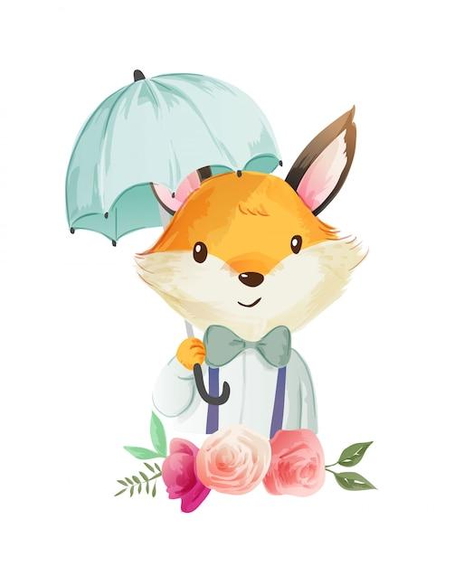Cute cartoon fox holding umbralla illustratie Premium Vector