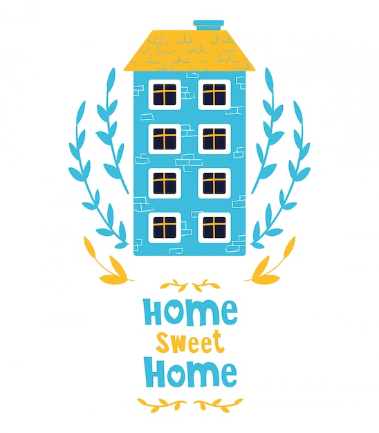 Cute cartoon huis, belettering. Premium Vector