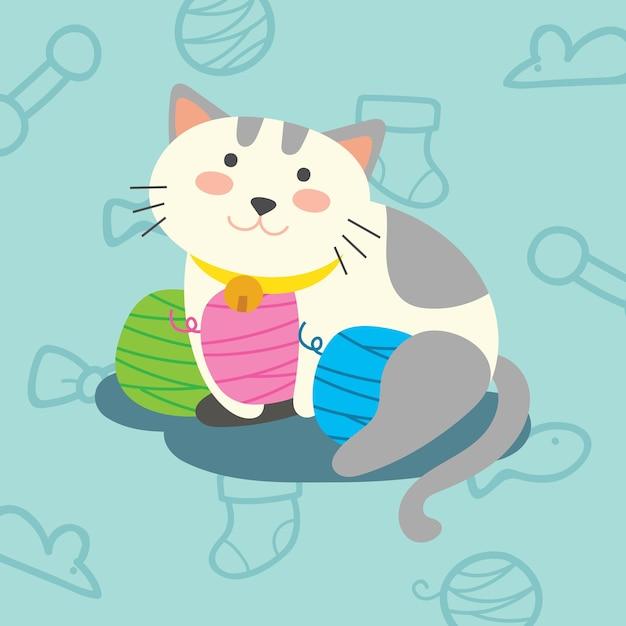 Image of: Cat Cute Cartoon Kat Kitten Illustratie Premium Vector Freepik Cute Cartoon Kat Kitten Illustratie Vector Premium Download