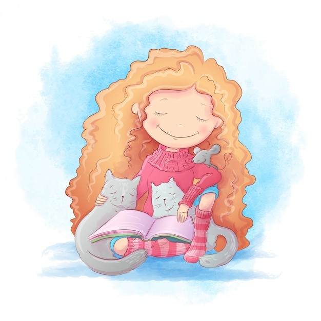 Cute cartoon meisje leest een boek voor twee katten en een muis. vector illustratie Premium Vector
