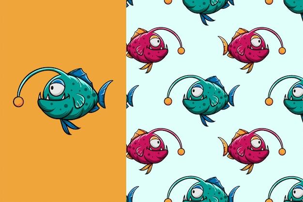 Cute cartoon monster vis naadloze patroon Premium Vector