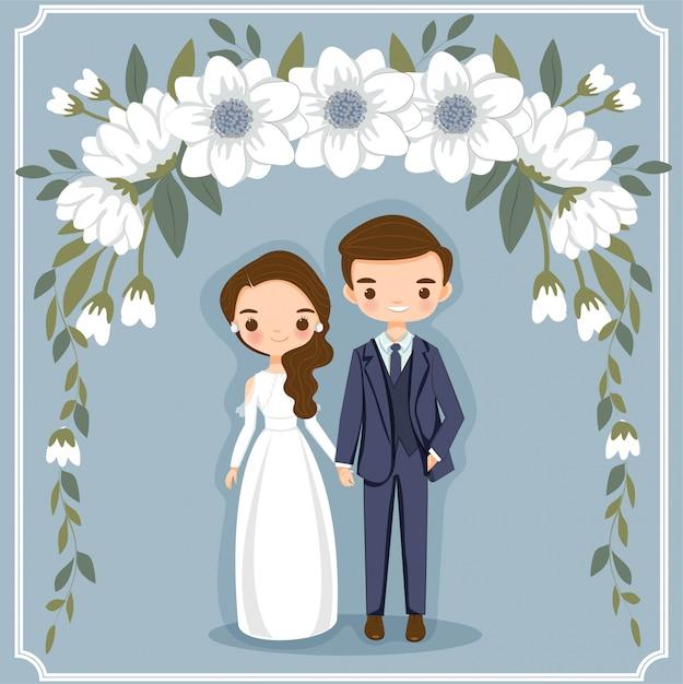 Cute cartoon paar voor bruiloft uitnodigingen kaart Premium Vector